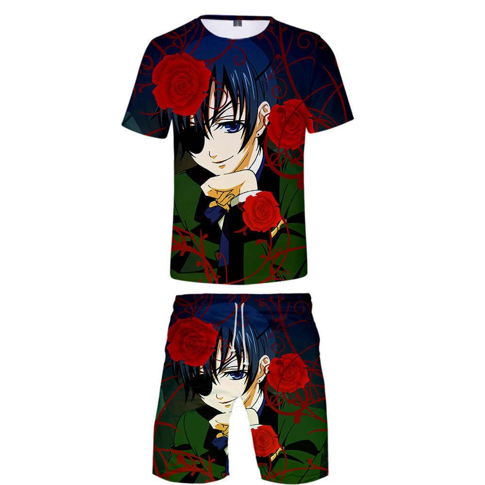 New Black Butler 3D Impressão T-shirt e calções calças de praia dos homens ternos Anime Harajuku criança Quente do Verão de manga Curta terno XXS-4XL