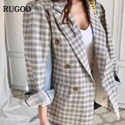 RUGOD 2018 осенью новый модный пэчворк женские пальто Однобортный плед зубчатый Повседневное блейзер для Для женщин Jaqueta Feminina