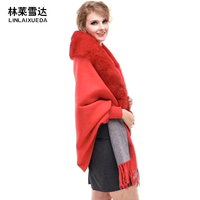 LINLAXUEDA Women Scarves Shawls Warm Scarf with fox fur collar Thicken Plaids Poncho Wraps Blankets Wool Cashmere Cloaks Stoles