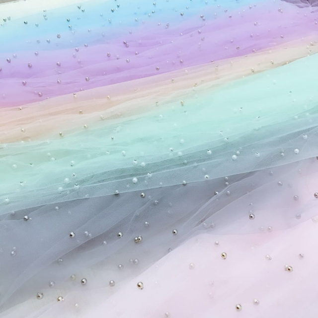 Width 70X100CM Pearls Tulle Fabric Sequin Mesh for Party Stage Wedding  Dress Skirts Decoration Organza Colorful 09777ed16f2d