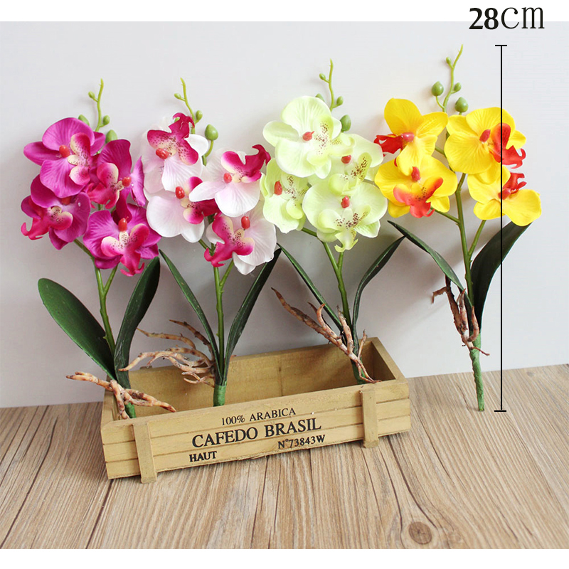 butterfly orchid artificial flowers potted plant fake silk flowers orchidees artificielle phalaenopsis home table office decor (2)
