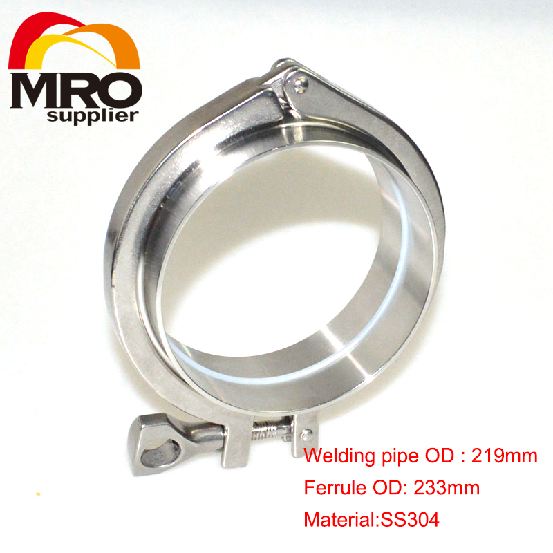 1 Set 8'' 219MM OD Sanitary Pipe Weld Ferrule + Tri Clamp + Silicone Gasket Stainless Steel SS304 SWT-219 a set 51mm 2 sanitary tri clamp weld ferrule tri clamp silicon gasket end cap 304 stainless steel
