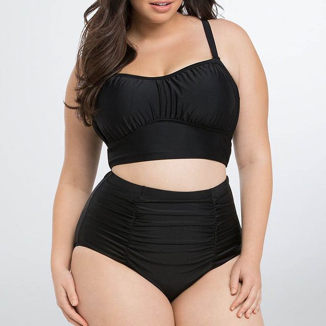 3d998265cc3 7 colors plus size Bikini set swimsuit 2018 adult swim Women s swimwear  swimming high waist bathing suit Woman Large size 3XL