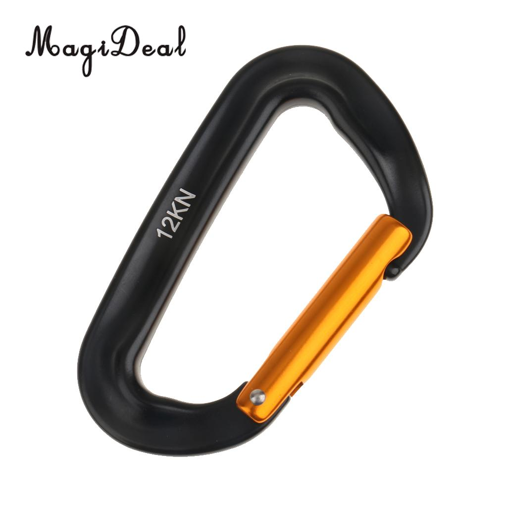 Magideal 12kn Spring Clip Keychain Carabiner For Climbing Backpack Hook Black,gold