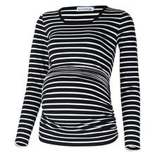 Dollplus Maternity Shirt Tops Long Sleeve Pregnant Women Clothing Fashion Striped Pregnant T-shirt Pregnancy Maternity Clothing