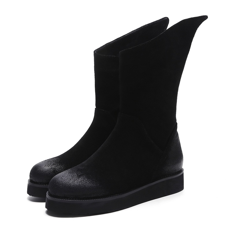 ASUMER 2018 new high quality cow leather snow boots women round toe black winter ankle boots for women platform ladies shoes
