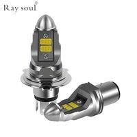 Ray soul Motorcycle H4 LED Headlight Bulbs 12V 4000LM Moto Accessories Fog Lights 7000K P43t HS1 BA20D
