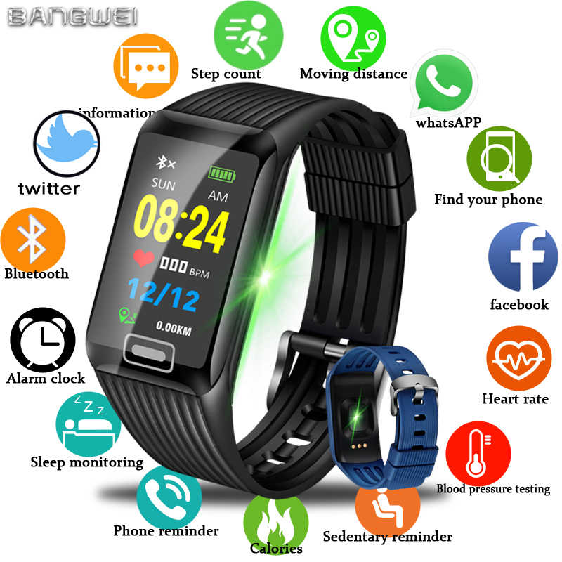 BANGWEI 2019 New Sport Watch Fitness Tracker Heart Rate Sphygmomanometer Pedometer Smartwatch Waterproof Watch For ios Android