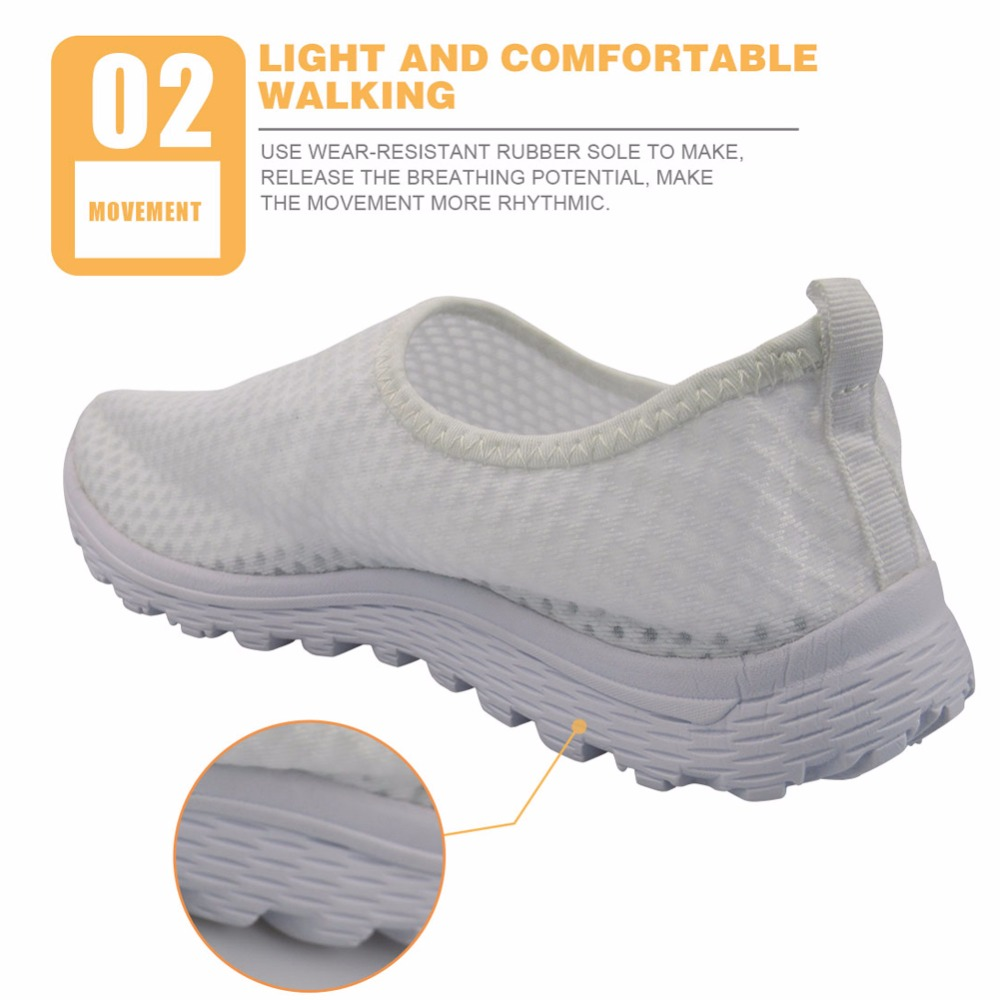 FORUDESIGNS Casual Shoes Flats Summer Women' 3D Cute Dentist Prints Sneakers Women Fashion Mesh Loafers Slip-on Shoes For Girls