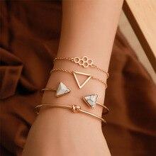 4Pcs/Set New Bohemian Opening Triangle Knot Honeycomb Resin Chain Cuff Bracelets Set for Women Bracelet Bangle Jewelry  WD197
