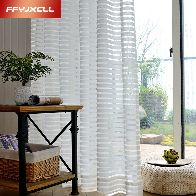 New Window Translucidus Striped Jacquard White Tulle Curtain For Living Room Bedroom Decoration Home