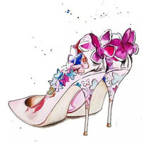 High Quality Gift Cross Stitch Watercolours Painting Beautiful High Heeled Shoes Series Diamond Painting DIY 5D