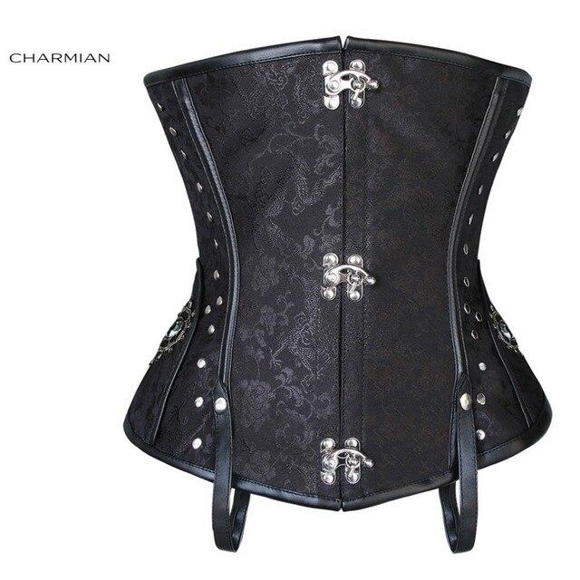 Charmian Plus Size Victorian Retro Steampunk Corset for Women Steel Boned Brown Black Underbust Corset Studs Side Waist Trainer