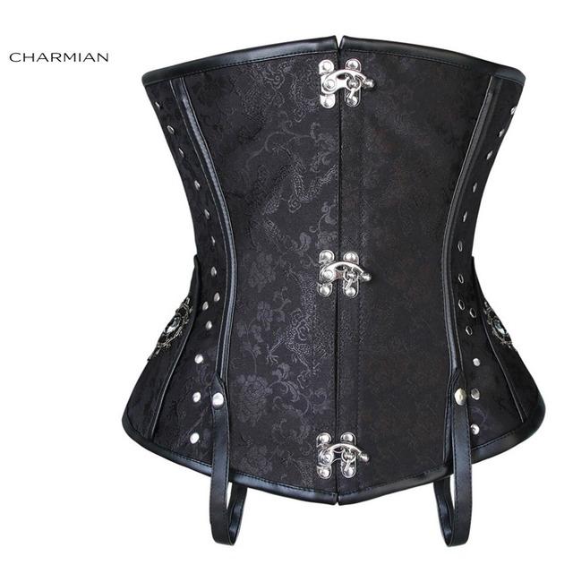 Charmian plus size retro vitoriano underbust espartilho de aço desossado steampunk corset para mulheres marrom preto studs side trainer cintura