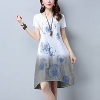 2017 Summer Cotton Linen Dress Women O Neck Short Sleeve Loose Print Dresses With Pockets Plus