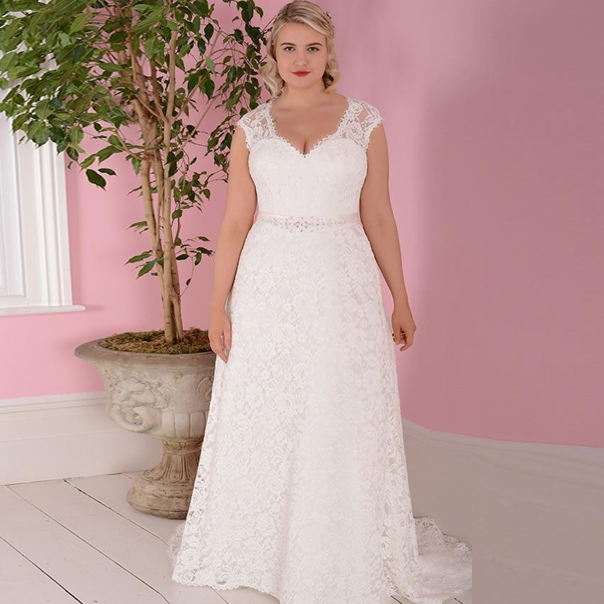 ADLN Cheap Wedding Dresses Plus Size Cap Sleeve Vestidos De Novia Bridal Gowns With Beading Sashes Robe De Mariage