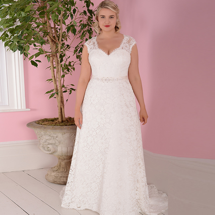 Jiayigong Cheap Wedding Dresses Plus Size Cap Sleeve Detachable Belt Vestidos De Novia Bridal Gowns Robe De Mariage