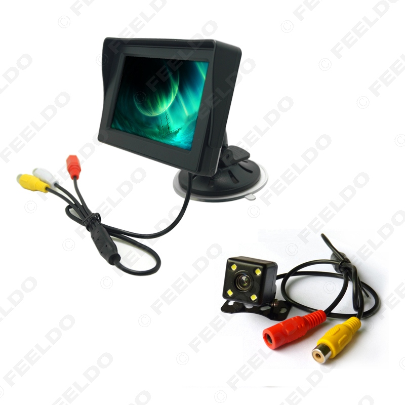 Car 4 3 inch Digital Windshield LCD Monitor With 4 LED Reversing Backup Camera Rear View
