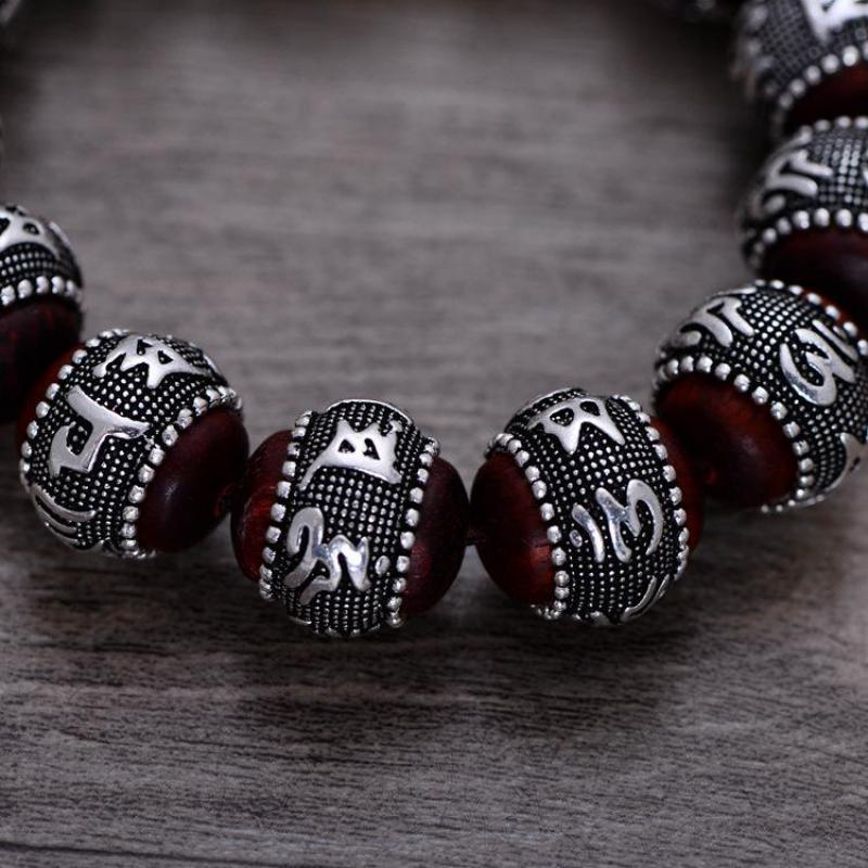 Тибетский ОМ МАНИ ПАДМЕ ХУМ браслет натуральный дольчатый красный сандал инкрустированные 925 пробы серебряной головой Будды мантра для Для мужчин Для женщин влюбленных - 2