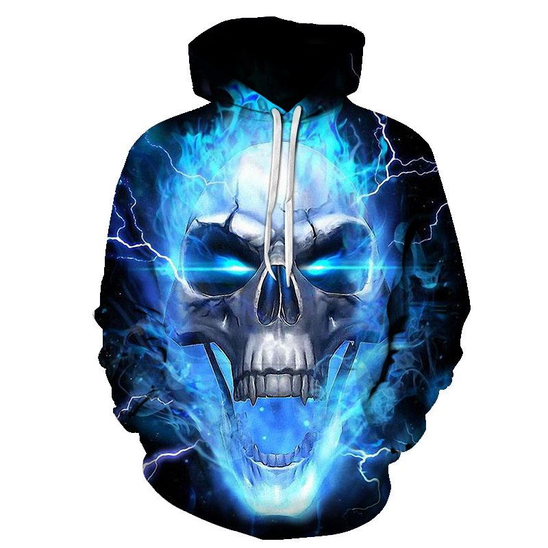 New Blue Flame Skull Hoodies 3D Sweatshirts Men Women Hooded Loose Tracksuits Spring Coat Streetwear Funny Jackets Hoodie