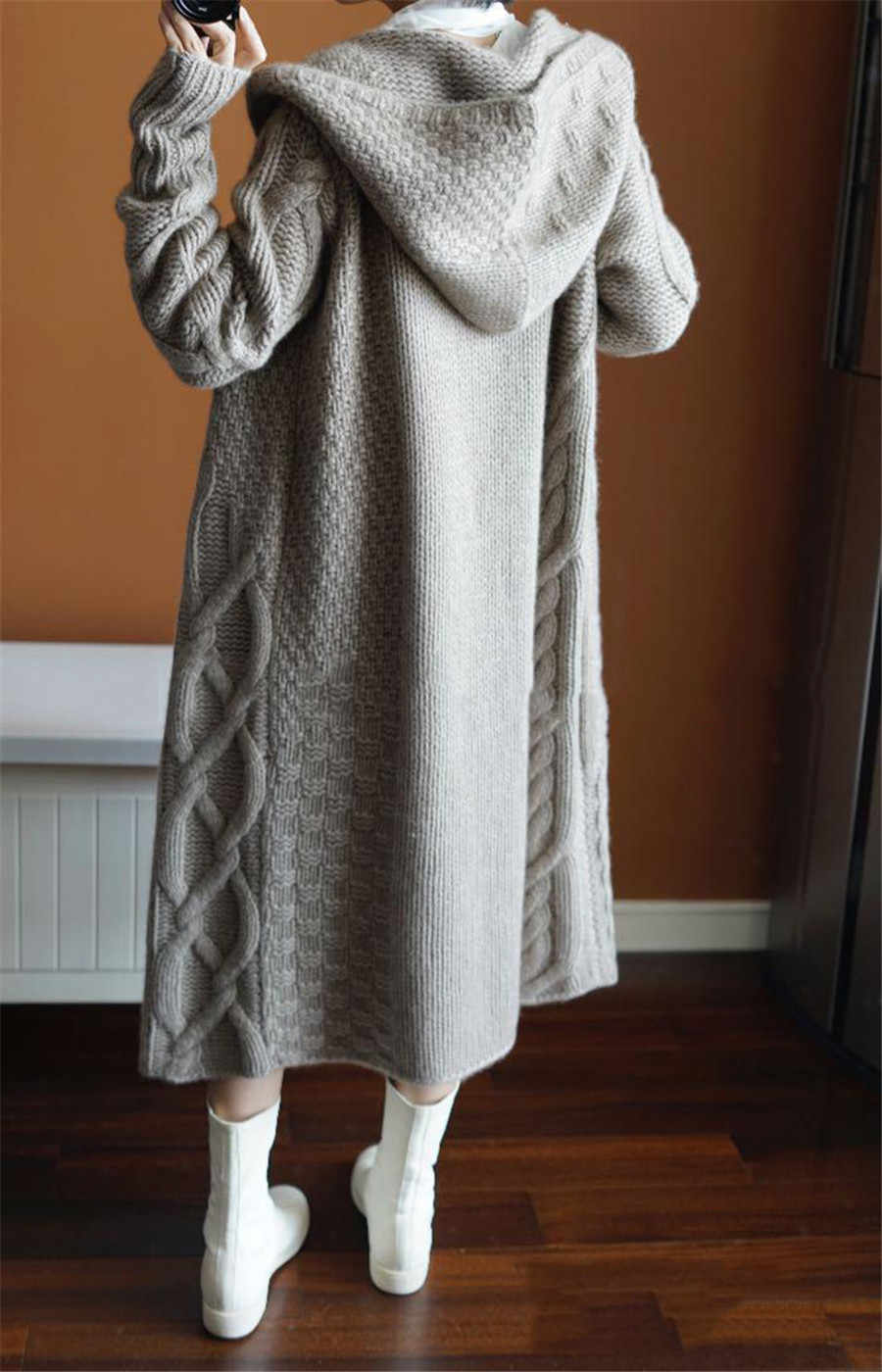 SU MISURA di PECORA autunno inverno nuove donne cappotto con cappuccio cardigan allentato femminile lungo maglione di cachemire di spessore di lana lavorato a maglia cardigan