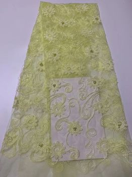 PINK African Dresses For Women Nigeriane, green white African Textiles Lace Purple, Sequins beads Net Lace Fabric