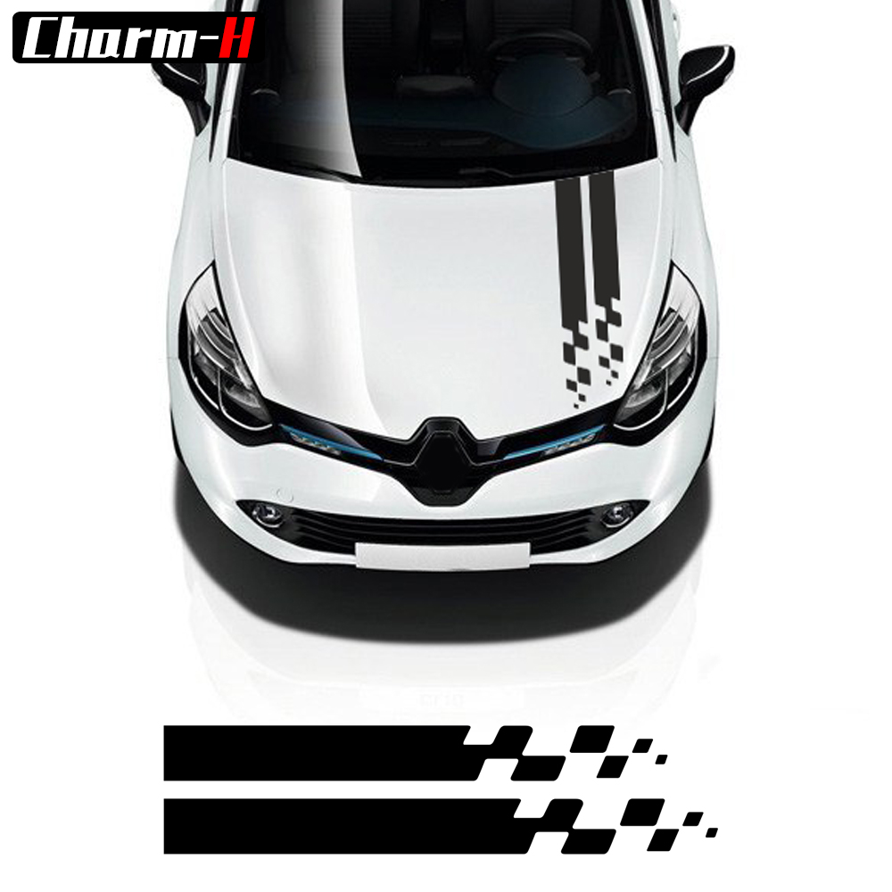 Car Styling Bonnet Cover Hood Stripes Vinyl Decals Sticker For Renault Clio RS Campus Megane 2 3 Twingo Sandero Accessories