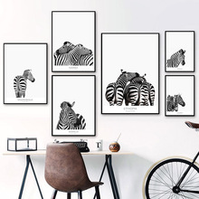 Scandinavian Style Zebra Canvas Wall Art Black And White Animals Posters Prints Nordic Picture for Living Room Decoration