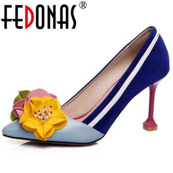 FEDONAS 2019 New Women Fashion Cute Flowers Party Wedding Shoes Woman Thin High Heels Basic Pumps Pointed Toe Prom Pumps Shoes