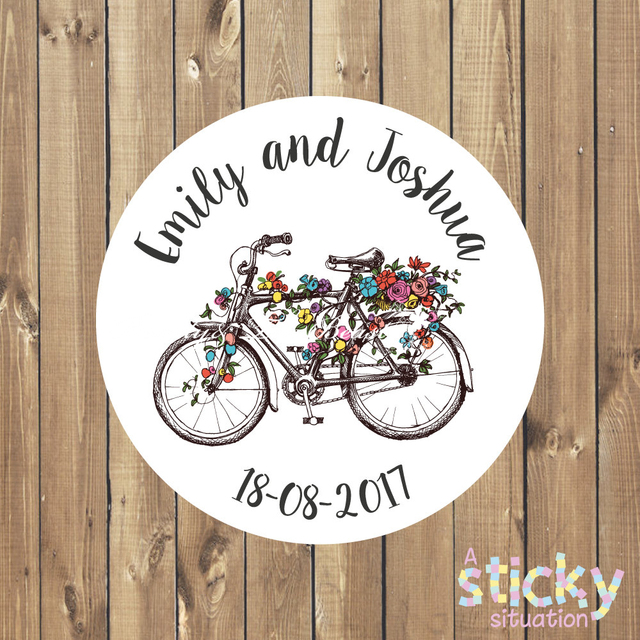 7c4bee143 Personalizado De Casamento De Bicicleta Adesivos