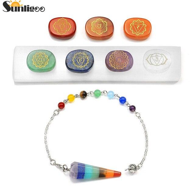 Sunligoo 7 Chakra Natural Polished Stones Chakra Symbols 7 Chakra