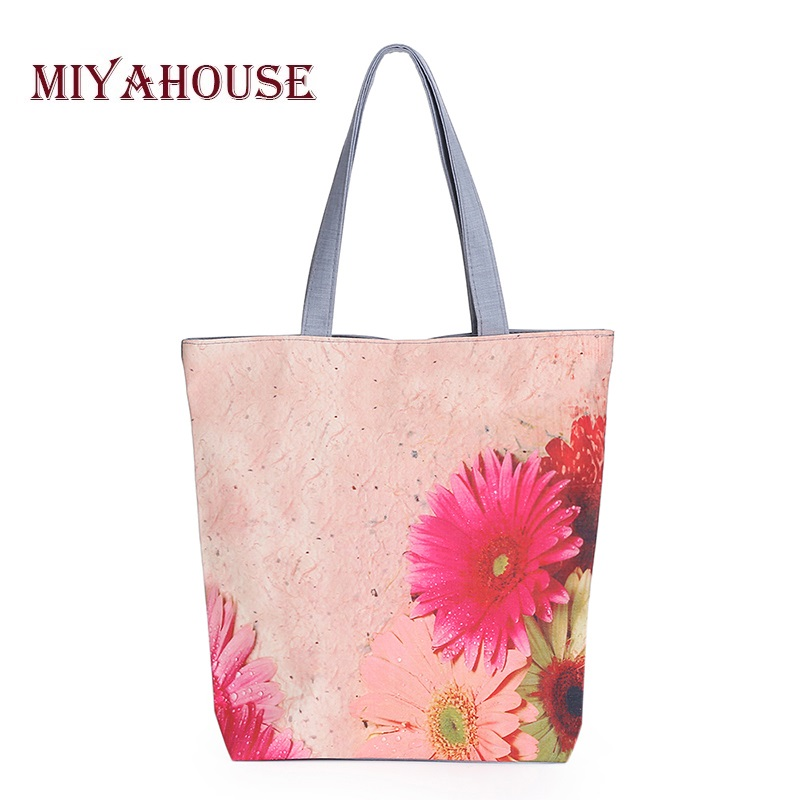 Miyahouse Colorful Floral Printed Single Shoulder Bag Women Daily Use Canvas Tote Handbag Female Summer Beach Bag Lady
