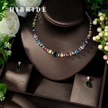 HIBRIDE Luxury Shinny Water Drop Cubic Zirconia Jewelry Sets Earring Set Women Wedding Bride Jewelry Accessories N 1042