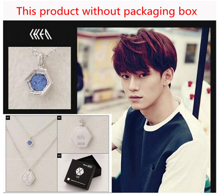 KPOP EXO-K EXO-M EXO Baekhyun Chanyeol Crystal Pendant Chain Necklace K-POP 2016 New Fashion Jewelry For Men And Women