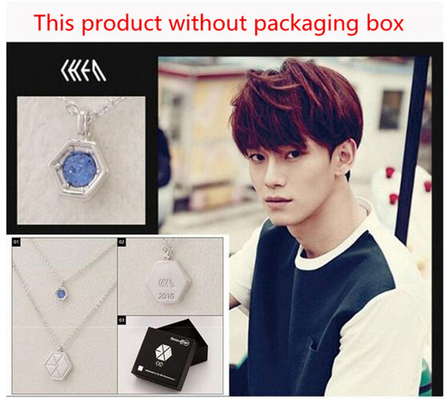 KPOP EXO-K EXO-M EXO Baekhyun Chanyeol Crystal Pendant Chain Necklace K-POP 2016 New Fashion Jewelry For Men And Women