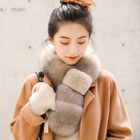 ZDFURS* Real Fox Fur scarf with Rex Rabbit Fur Scarf Natural Fox Fur Muffler fox shawl collar fox Free Shipping