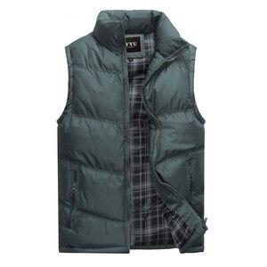 Image 4 - 2019 nova marca dos homens jaqueta sem mangas colete inverno moda casual casacos masculinos algodão acolchoado colete masculino engrossar colete 3xl