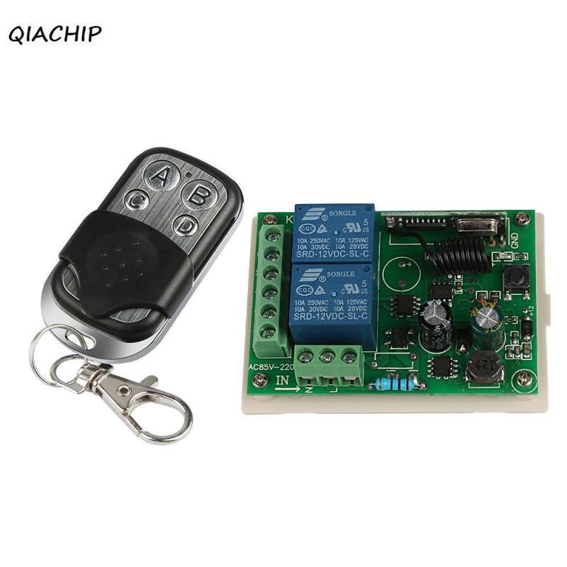 QIACHIP 433Mhz Wireless Remote Control touch Switch AC 220V 2CH RF Relay Receiver Module with 433 Mhz 4CH Remote Control Diy H1 315 433mhz 12v 2ch remote control light on off switch 3transmitter 1receiver momentary toggle latched with relay indicator