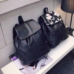 Simples estilo universitário mochilas de couro drawstring viagem mochila sacos de ombro senhoras estudantes saco escolar para as mulheres 2019 lby