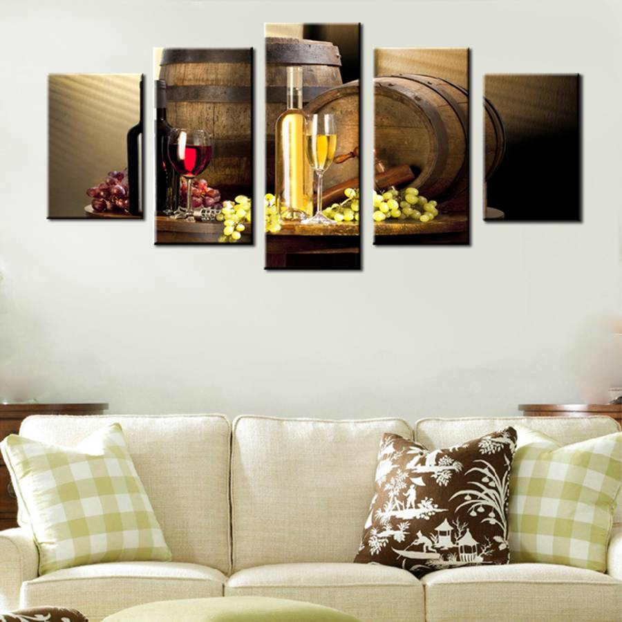Various Wine With Grape Wall Art For Kitchen Painting Pictures Print On Canvas Food Wall Art Christmas Decorations For Home Gift