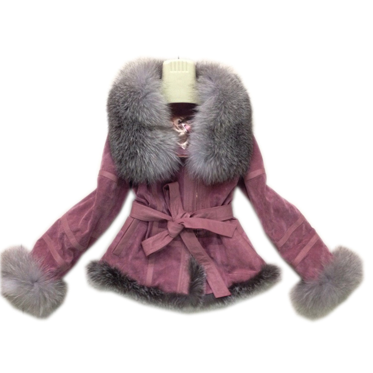 2017 Full leather silver fox fur coat short design one piece outerwear womens  new