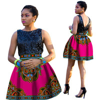 African Skirt for Women Knee Length Bazin Rich Casual African Print Skirt Pleated High Waist Dashiki African Skirt