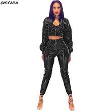 YAYA women long sleeve faux leather PU short top jackets zip open pencil  pants 389aaa910