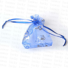 wholesale 100pcs 10x12cm Colorful butterfly Christmas Wedding voile Organza Bags Jewlery packing Gift gift & Pouches