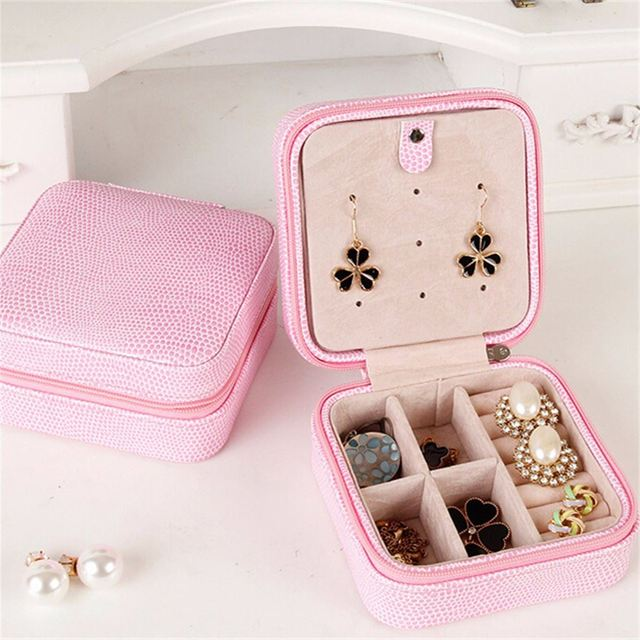 Fashion Mini Jewelry Box Case PU Leather Casket Portable Travel