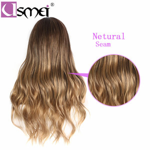 Image 4 - USMEI Long wavy wigs cosplay for women 26inches synthetic wig Blonde Brown Black Pink fake hair for choose 7 colors Ombre hair