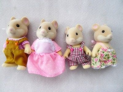 TT03-- Sylvanian Families Mouse Family 4pcs Parents & Kids Set New without Box tt03 sylvanian families mouse family 4pcs parents