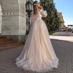Image 3 - Long Sleeves Wedding Dress 2019 Champagne Tulle Skirt Vestido de Noiva Lace Appliqued Bride Dress Robe Mariage