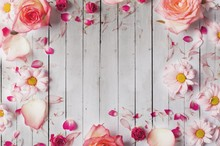 Laeacco Old Wooden Boards Blooming Flowers Baby Newborn Photography Background Customized Photographic Backdrop For Photo Studio