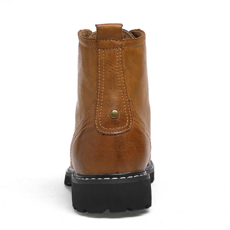גברים מגפי עור אמיתי חורף שלג נעלי אופנה גברים חורף מגפי מחודדת הבוהן אמצע עגל מגפי גברים קרסול מגפי החלקה